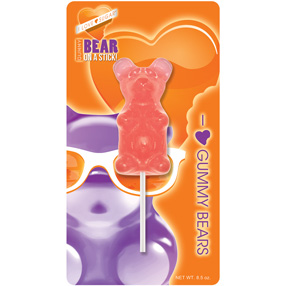 Giant Bubblegum Gummy Bear on a Stick
